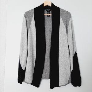 OLSEN Open Front Color Block Cardigan Knit Sweater Wool Blend M / L 12